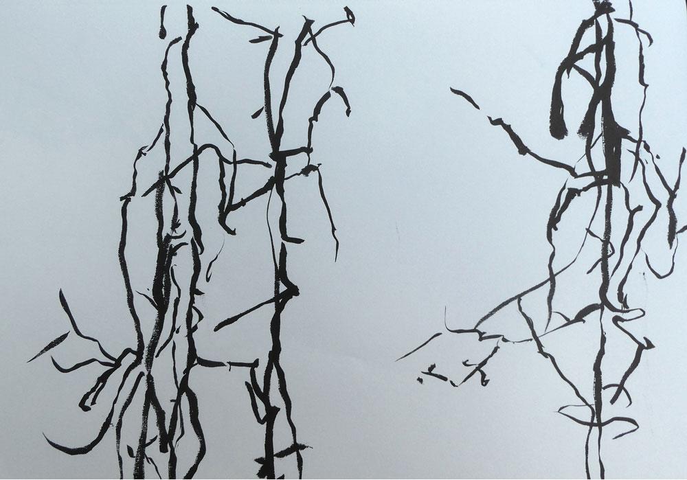 Serie-I-Hangende-takken,-boswandeling.-21x-30-cm-Inkt-op-papier.-2020